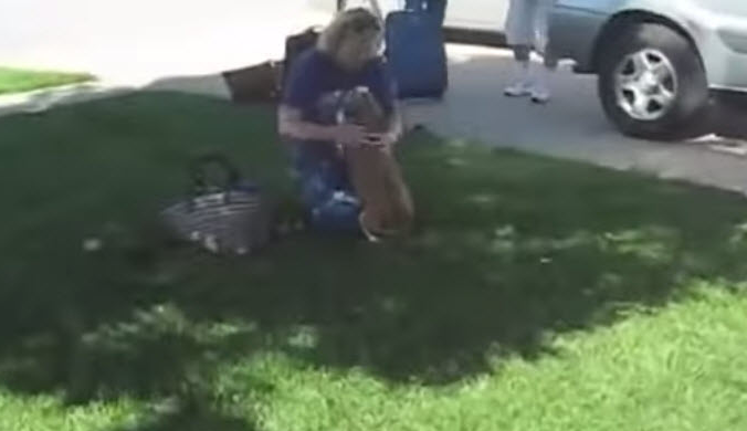 After the family returned back home from a holiday, this loyal dog greeted them in the most amazing way.