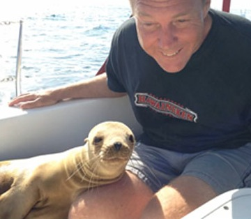Watch what happened when the sea lion came into the boat for a visit.