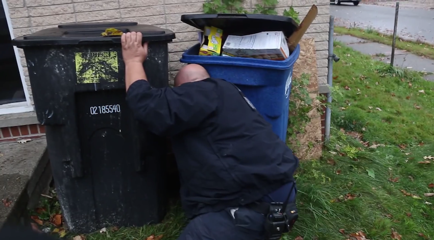 Humane Society rescues a puppy and a cat from a trash can