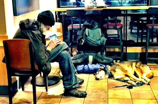 What This Homeless Man With His Dog In Starbucks Says Went Viral For A Very Good Reason 2015-07-20 00-05-18